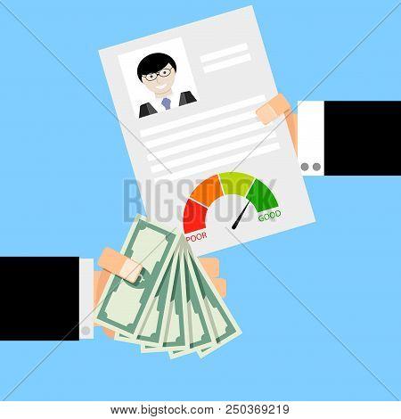 Get Financial Loan. Financial Cash Credit, Confirm Give Money, Vector Illustration
