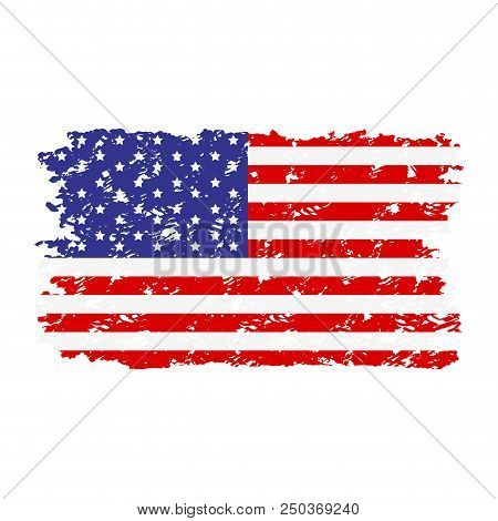 Usa Flag Texture Rubber Stamp. Flag Grunge Usa National, American United Texture. Vector Illustratio