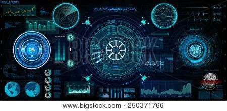 Futuristic Concept Hud, Gui Style. Screen ( Dashboard, Futuristic Circle, Space Elements, Infographi