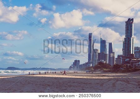 Gold Coast, Australia - January 7th, 2015: View Of Main Beach In Gold Coast, The Area Features Golde