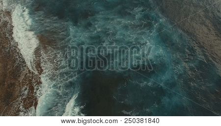 Aerial Photography. At Sea, A Wave Is Beating. At Sea, Clean Sea Air