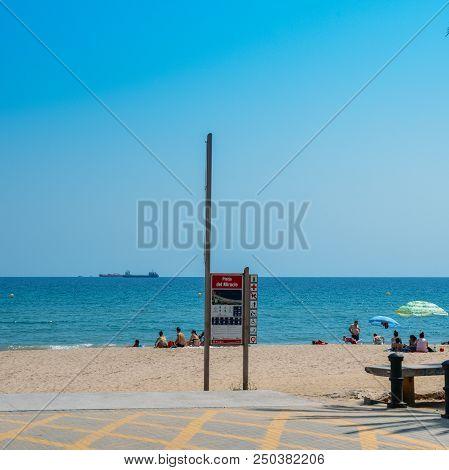Tarragona, Spain - July 11, 2018: Entrance To Miracle Beach In Tarragona, Spain, A Popular Beach In