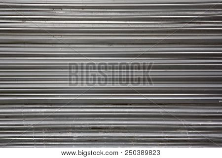 Modern Style Industry Corrugated Metal Sheet Texture Background With Revet Polish Head