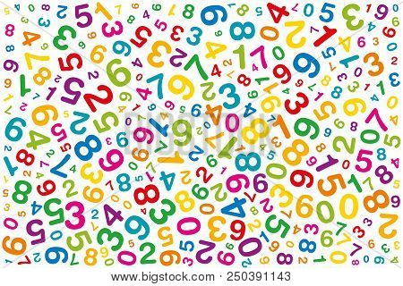 Twisted Colored Numbers. Randomly Distributed Numerals. Symbol Image For Numerology Or Flood Of Data