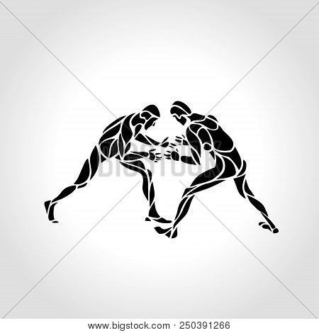 Illustration Of Greco Roman Wrestlers, Fighting Game. Vector Black And White Freestyle Wrestling Cre