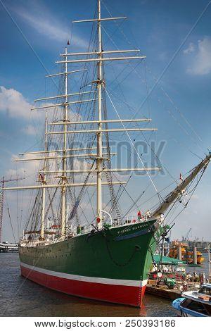 Hamburg, Germany - July 28, 2014: View Of Sailing Ship Rickmer Rickmers And The Rickmer Rickmers Is