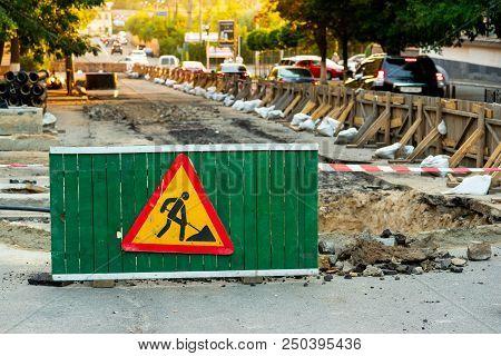 Work In Progress. Direction Sign Arrow, Road Signs. Men At Work. Some Sign Signs For Work In Progres