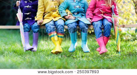 Kids In Rain Boots. Foot Wear For Children.