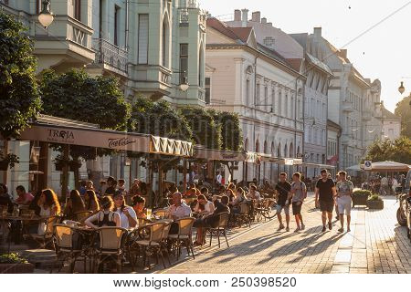 Szeged, Hungary - July 2, 2018: Young People Walking On A Pedestrian Street Of Szeged, Southern Hung