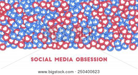 May 01, 2018: Social Media Obsession. Social Media Icons In Abstract Shape Background With Scattered