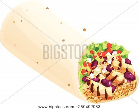 Mexican Burrito With Grilled Chicken, Beans, Rice, Lettuce, Tomatoes, And Onions. Isolated Vector Il
