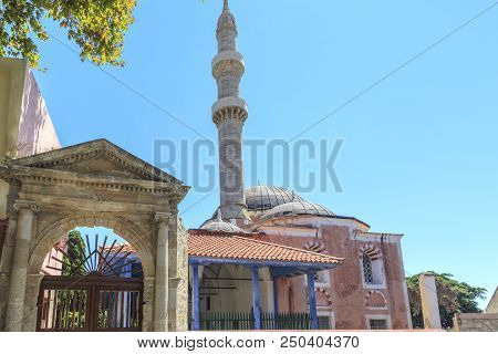 Suleiman's Mosque In Rhodes Old Town, Dodecanese, Greece