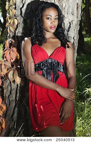 Sultry black woman outdoors