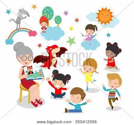 Cute Kids Listening To Their Teacher Tell A Story, Reading Books, Teacher Reading Books For Child In