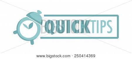 Quick Tips Logo With Alarm Clock And Big Sign. Online Fast Advice Service Promo. Program For Help Em