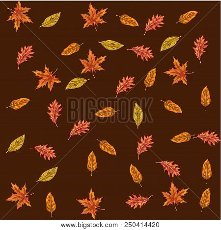 Vector Seamless Pattern With Autumn Leaves. Different Leaves On A Brown Background. Colors Of Autumn