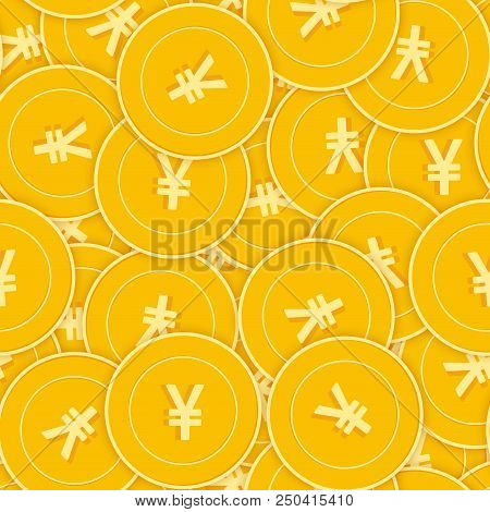 Chinese Yuan Coins Seamless Pattern. Incredible Scattered Cny Coins. Big Win Or Success Concept. Chi
