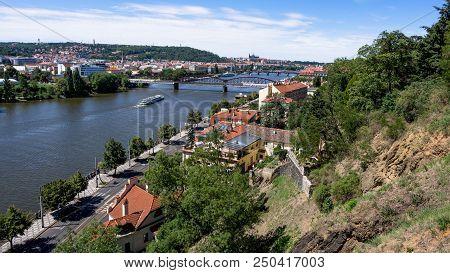 River Vltava, Prague Castle And Charles Bridge From Vysehrad