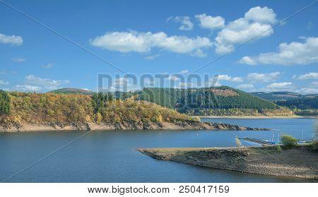 Autumn Landscape At Biggesee Reservoir In Sauerland,north Rhine Westphalia,germany