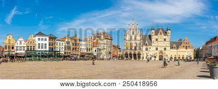 Mechelen,belgium - May 17,2018 - Panoramic View At The Grote Markt Place With City Hall In Mechelen.