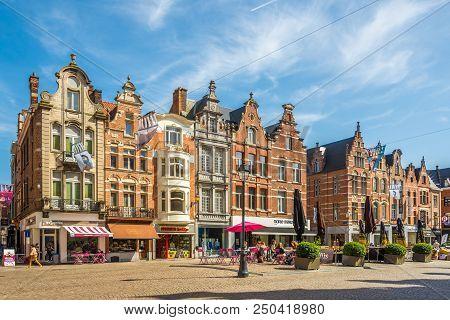 Mechelen,belgium - May 17,2018 - View At The Buildings Of Grote Markt Place In Mechelen. Mechelen Is