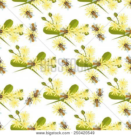 Honey Bee With Linden Blossom Vector. Bee Seamless Pattern Honeycomb Linden Blossom Hexagon Nature F