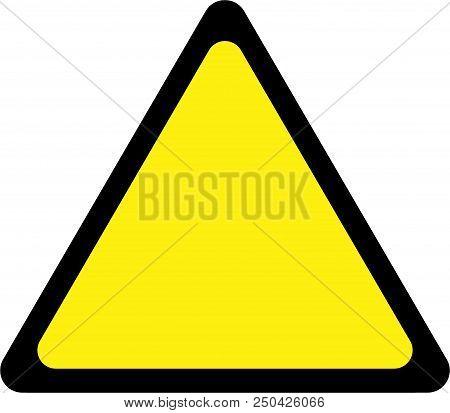 Generic Yellow Warning Sign On White Background