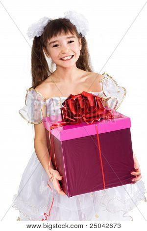 Pretty Little Girl Smiling With Present