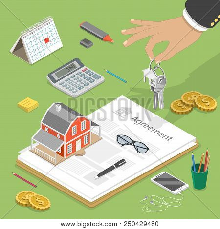 Flat Isometric Vector Concept Of Buying House, Real Estate Deal, Mortgage.