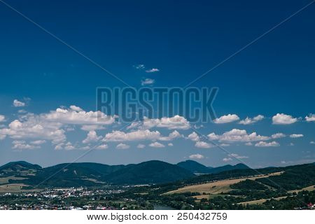 A Bautiful Sky With Small Clouds And With Village Strecno In Slovakia Lands