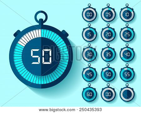 Stopwatch Icons Set In Flat Style From 0 To 60, Timers On Blue Background. Sport Speed Clock. Vector