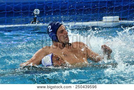Budapest, Hungary - Jul 27, 2017. Torok Bela (2) Hungarian Waterpolo Player In The Semifinal. Fina W