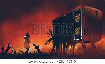 Young Woman Standing Among Evil Hands That Comes Out Of The Giant Television, Digital Art Style, Ill