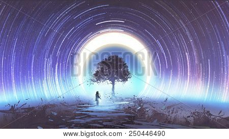 Young Woman Playing Guitar For The Magic Tree Against Star Trails And The Moon In The Sky, Digital A