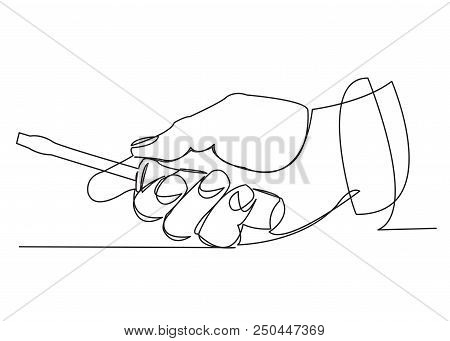 Continuous Single Drawn One-line Hand With A Screwdriver Hand-drawn Picture Silhouette. Line Art. Sc