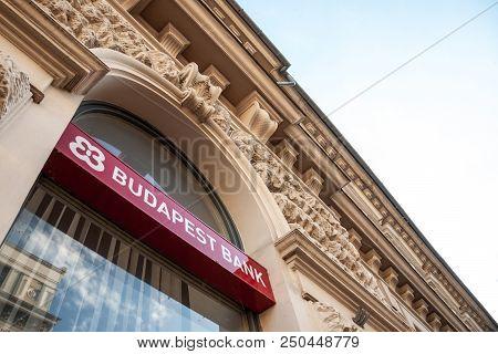 Szeged, Hungary - July 3, 2018: Budapest Bank Logo On Their Main Office Afor Szeged Szeged. Budapest