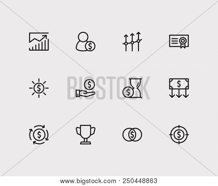 Economy Icons Set. Investment Target And Economy Icons With Profit, Money Transfer And Competition.