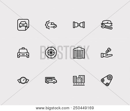 Car Service Icons Set. Food Truck And Car Service Icons With Car Dashboard, Car Repair And Car Selle