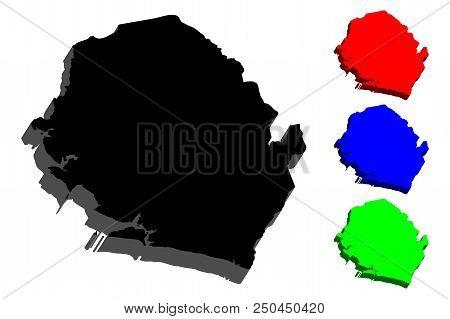 3d Map Of Sierra Leone (republic Of Sierra Leone) -  Black, Red, Blue And Green - Vector Illustratio