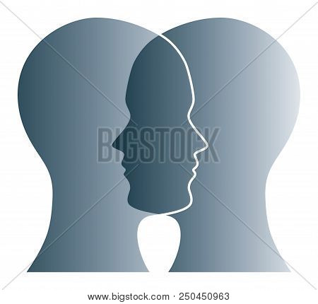 Gray Silhouettes Of Two Heads On White Background. Two Overlapping Faces As Symbol For Anxiety, Unce