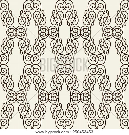 Rhomboid Seamless Pattern Composed Of Thin Black Line Squiggles On White Background Flat Vector Illu