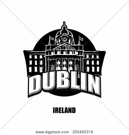 Dublin, Ireland, Black And White Logo For High Quality Prints. Hand Drawn Vector Sketch.