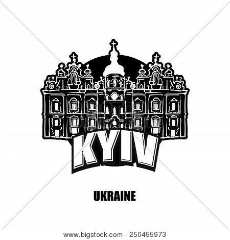 Kyiv, Ukraine, Black And White Logo For High Quality Prints. Hand Drawn Vector Sketch.