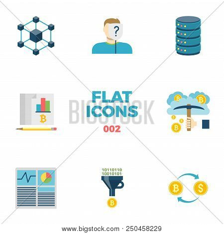 Cryptocurrency And Blockchain Related Flat Icons. Crypto Icon Set. Blockchain, Anonymous, Server, Le