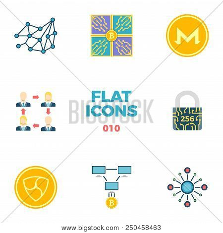 Cryptocurrency And Blockchain Related Flat Icons. Crypto Icon Set. Peer To Peer, Mining Pool, Decent