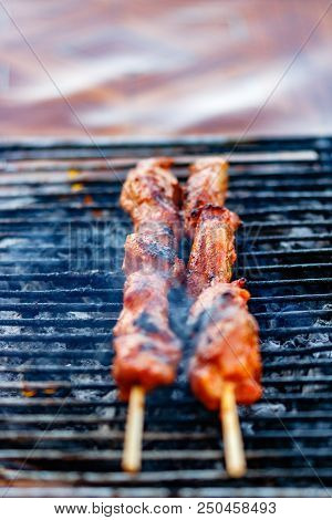 Grilling Meat Outdoors In Puntarenas, Costa Rica.  Close Up Of Two Meat Sticks.