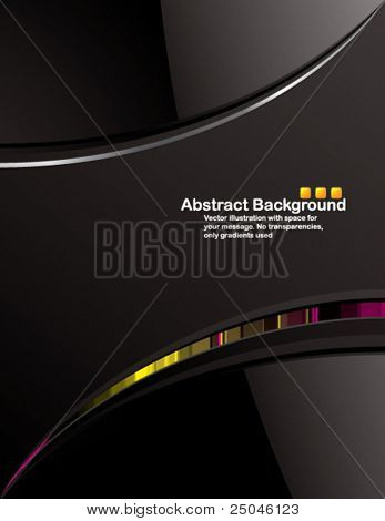 Vector. Clean black background design with glossy elements. No transparencies, only gradients used