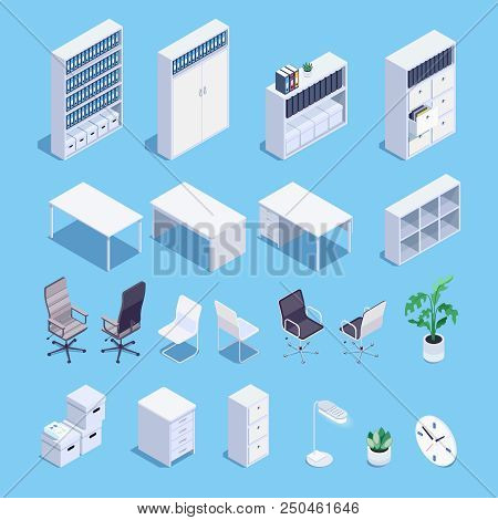 Isometric Set Of Office Furniture Icons. 3d Office Desks, File Storage, Office Chairs, Clocks And Pl