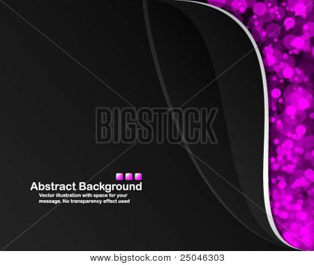 Black background with random transparent pink circles. Vector illustration in RGB colors.