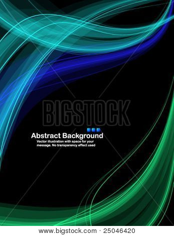 Abstract transparent waves on black background. Vector illustration.